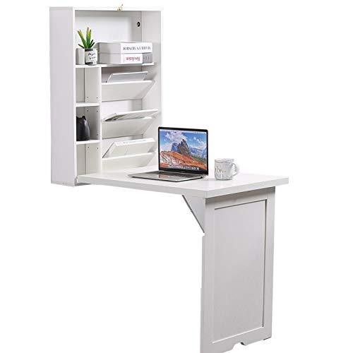 Lipo Escritorio con estantería con 4 estantes – Mesa flotante de pared con estantes plegables, marco de madera moderno blanco