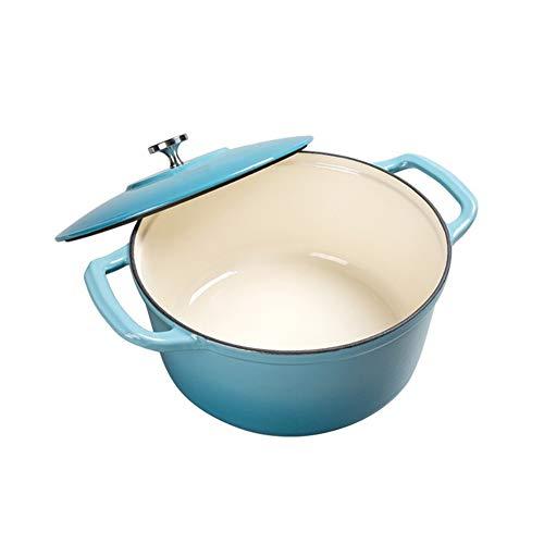 Cocotte en fonte émaillée résistante à la chaleur avec couvercle, faitout et marmite en fonte épaisse avec deux oreilles stylename Bleu couleur