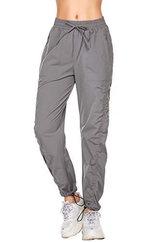 Trainingshose Damen grau Sporthose Damen Lang mit Taschen Jogginghose Freizeit Fitness Yogahose Fitness Locker Loose Fit grau XL