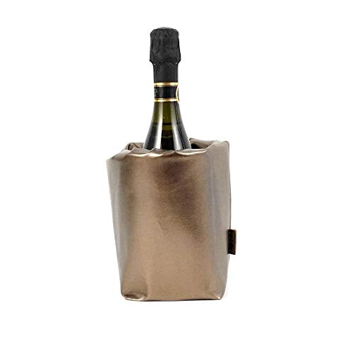 LOCALIS Flaschenkühler, faltbar, 2 entnehmbare Kühlakkus, flexibel an Flaschentyp anpassbar | Made in Italy | Weinkühler | Sektkühler | Champagnerkühler | Getränkekühler (messingfarben)
