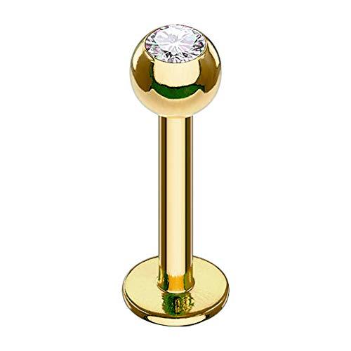 Piersando Piercing Stab Stecker Kugel mit Kristall Lippen Labret Lippenpiercing Ohr Tragus Ohrpiercing Helix Nase Intim Zungen Nasen Gold 1,2mm x 6mm x 3mm
