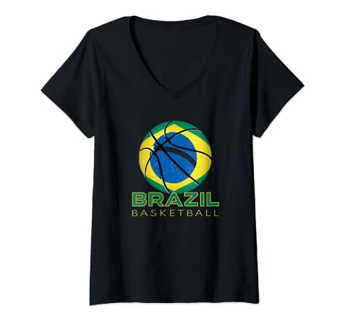 Mujer América Brasil Fan Deportes Bandera Nacional Brasil Baloncesto Camiseta Cuello V