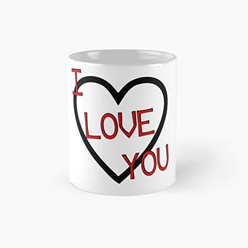 Taza clásica con texto en inglés 'I Love You'