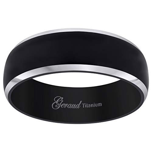 JewelryWeb - Alianza de Titanio Negro para Hombre, 8 mm de t