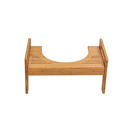 Sgabello da Toilette accovacciato-Sgabello da Bagno in Legno di bambù Naturale Antiscivolo Regolabile Altezza- Anti Costipazione Heal Squat Emorroidi-per WC Ergonomico-per Bambini e Adulti