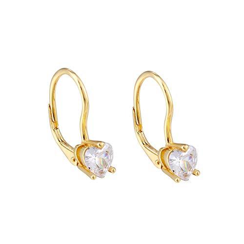 Large White CZ Leverback Earrings