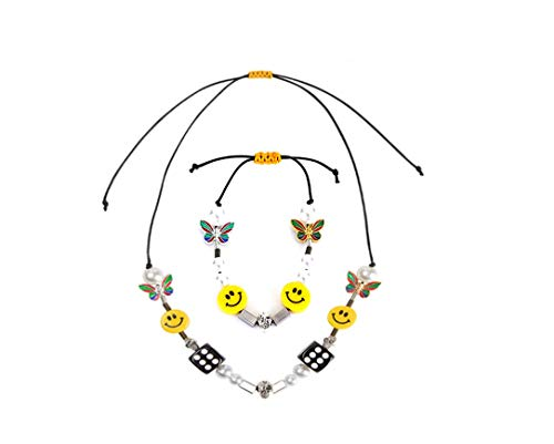 Men's Butterfly Skull Dice Pearl Smiley Necklace Punk Hip Hop Street Dance Rock Necklace Bracelet Combination