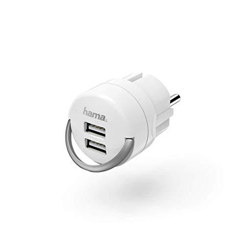 USB Steckdose Adapter für USB Ladegerät, 2 Ports (Ladeadapter mit 2,4A, kompakter USB Doppelstecker für Smartphone, Tablet, Kamera, Smartwatch, MP3 Player, Bluetooth Lautsprecher) weiß