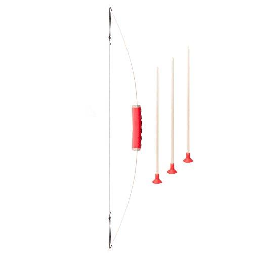 Spielzeugmanufaktur VAH 753 - Stabiler Kinderbogen (ca. 70cm) [Eschenholz | inkl.3 Saugnapf-Pfeile | Pfeilführung für die Kleinsten | Made in Germany]