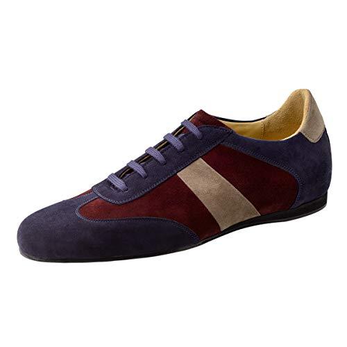 Werner Kern Herren Tanzsneaker/Tanzschuhe 28061 - Farbe: Blau/Beige/Rot - Größe: UK 5,5