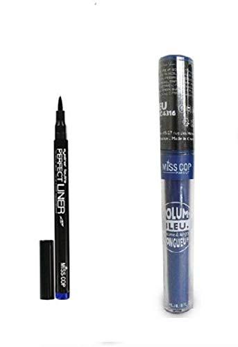 KIT Mascara Volume Bleu + Feutre Tatouage Eye Liner Bleu (Lot De 2 Produits)