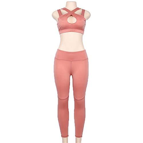 Pantalón de Entrenamiento Ligero para Mujer Señoras del color sólido pectoral Cruz Cuello de deporte atractivo Reunidos ropa de yoga Sujetador con el cojín del pecho juego de la aptitud Mallas for cor
