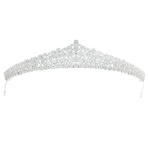 Tiara de plata de circonio para boda, tiara de novia de cristal,...