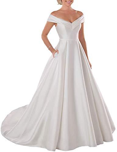 iluckin Long Princess A-Line Satin Off The Shoulder Wedding Dress for Bride Evening Dresses Bridal Ball Gown