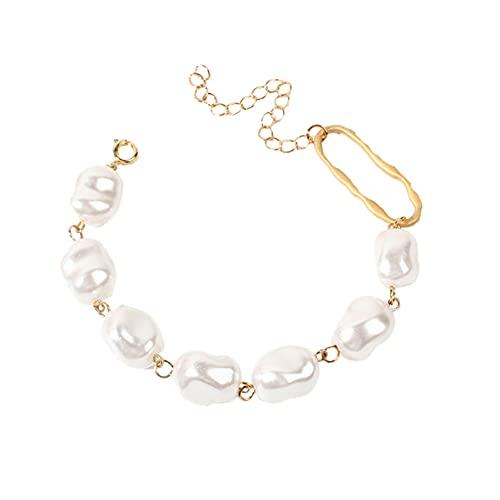 Holibanna Pulsera de Perlas de Boda Pulsera de Metal Joyería de Muñeca Decoración de Muñeca Regalos para Mujeres Niñas