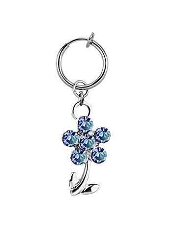 lau-fashion Illusion Fake Clip Test Bauchnabelpiercing Klemme Blume Silber Ring Ø 13mm Farbe blau