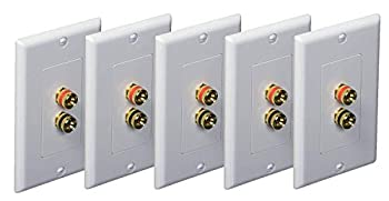 iMBAPrice  5 Pack  Premium 2 Connector Banana Wall Plate - Banana Plug Binding Post Wall Plate for Speakers white
