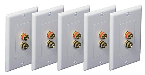 iMBAPrice (5 Pack) Premium 2 Connector Banana Wall Plate - Banana Plug Binding Post Wall Plate for Speakers white