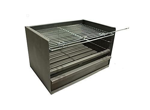 Cajón para Barbacoa con parilla, barbacoa rectangular 60x41 carbón y leña con...