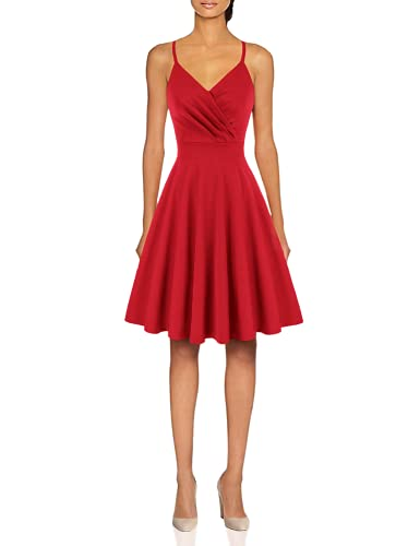 A-Line Flared Cocktail Dress Spaghetti Strap Swing Dress Red Size M