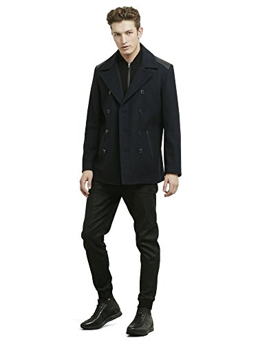 Reaction Kenneth Cole Wool Pea Coat With Leather Shoulder Details