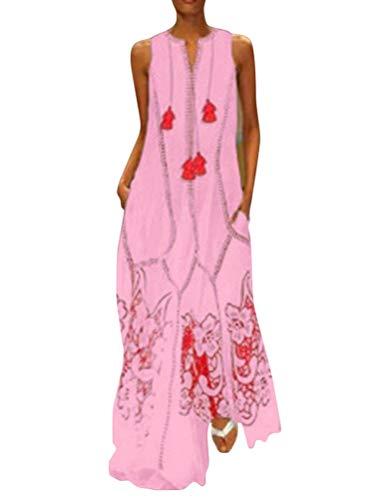 Minetom Mujer Vestido Casual Verano Sin Mangas Vestidos Elegante V Cuello Playa Fiesta Maxi Dress B Rosa 46