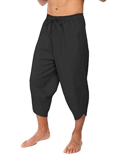 COOFANDY Mens Linen Harem Capri Pants Lightweight Loose 3//4 Shorts Drawstring Elastic Waist Casual Beach Yoga Trousers