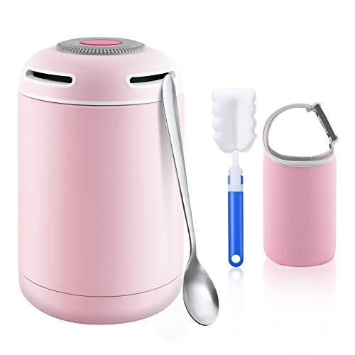 flintronic Termo para Comida, 460ml Fiambrera Portátil Food Flask, Botella Aislada de Acero Inoxidable, para Adultos Niños y Bebés, con 1 Cepillo 1 Cuchara 1 Taza de Soporte - Rosa