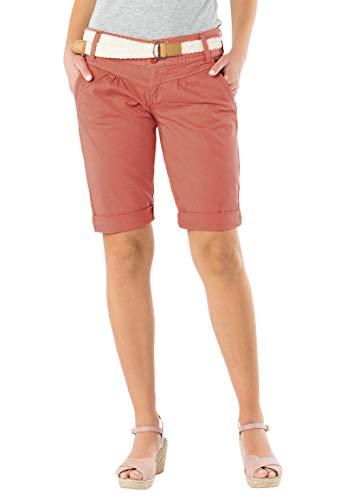 Fresh Made Damen Bermuda-Shorts in Pastellfarben mit Gürtel orange M
