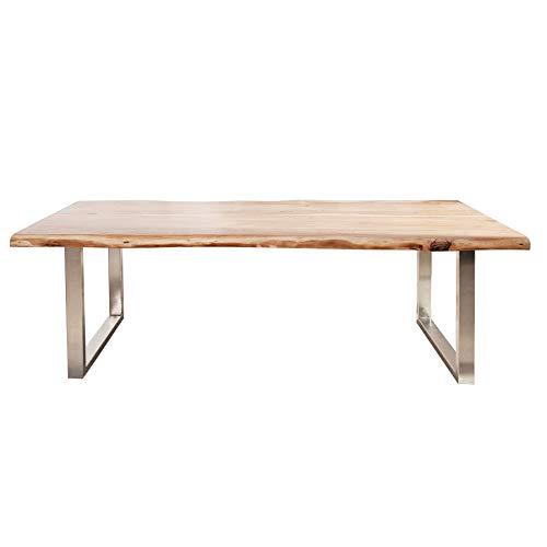 Massiver Baumstamm Tisch MAMMUT 240cm Akazie Massivholz Industrial Look Kufengestell schmal Esstisch mit 6cm Tischplatte