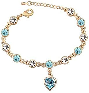 Swarovski Elements 18K Gold Plated Bracelet Encrusted with Light Blue Swarovski Crystals, SWR-316