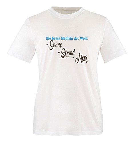 Comedy Shirts - Die Beste Medizin der Welt: Sonne, Strand, Meer - Herren T-Shirt - Weiss/Blau-Braun Gr. XL