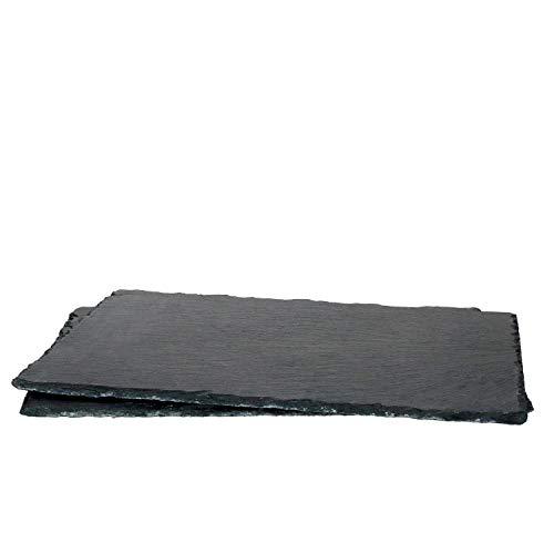 MamboCat 2er-Set Schieferplatte 20x30cm I Rustikaler Stein-Teller aus Schiefer - mit naturbelassener Bruchkante I ideal als Sushi-Platte & Servier-Teller I 2 Stück Servier-Platte Schwarz 20 x 30 cm