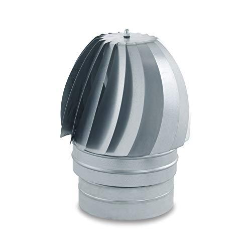 Sombrerete Aspirador de acero galvanizado para sistemas de ventilación y extracción, chimeneas y estufas de leña y pellet, autoconectable (350 mm)