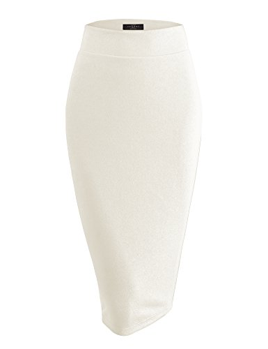 WB1579 Womens Slim Fit Solid Texture Midi Pencil Skirt - Made in USA S Ivory