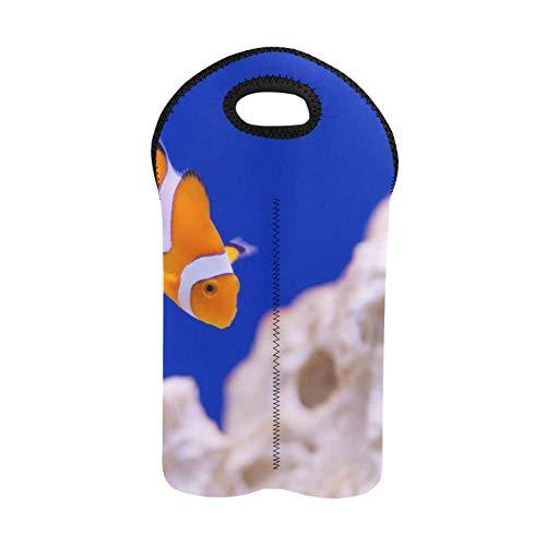 Neopren-Weinbeutel Anemone Animal Aquarium Clownfisch Marine Ocean Neopren-Weintasche Doppelflaschenträger Picknick-Weinbeutel Dicker Neopren-Weinflaschenhalter hält Flaschen gesch