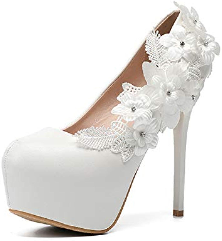 HRCxue Pumps Pumps Pumps Damenschuhe Hochzeitsschuhe weiße Spitze Brautjungfer Größe, weiß, 43  2441b0