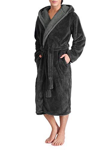 DAVID ARCHY Men's Hooded Fleece Plush Soft Shu Velveteen Robe Full Length Long Bathrobe (XL, Dark Gray)