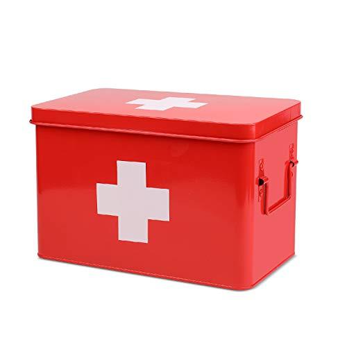Flexzion Caja botiquín metálica para Primeros Auxilios con Asas Laterales, Bandeja Superior extraíble y Compartimentos Separados para Almacenamiento de Medicina, Receta, Herramienta y raciones (Rojo)
