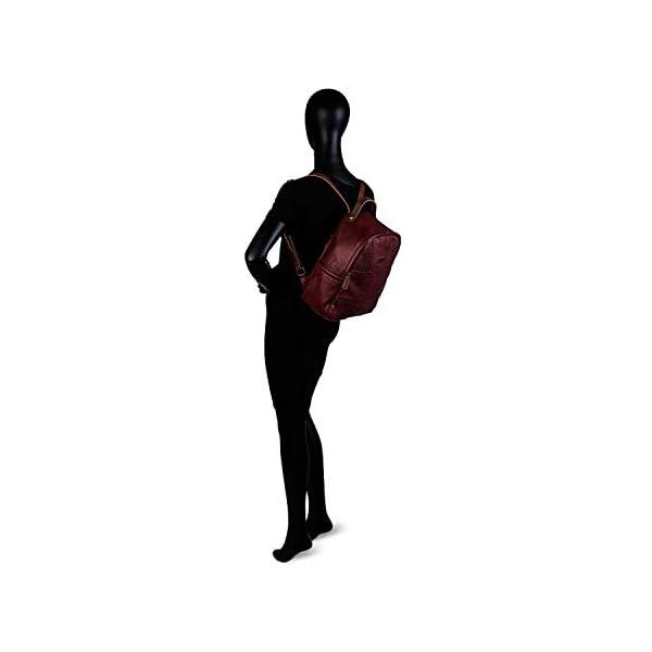 31fjn6s6kyL. SS600  - Lois - Mochila de Mujer de Bonito Diseño. Cuero PU Perforado. para Diario Paseo Viaje Compra. Resistente Fuerte Práctica Estilo Casual. Marca y Moda. 96299, Color Granate