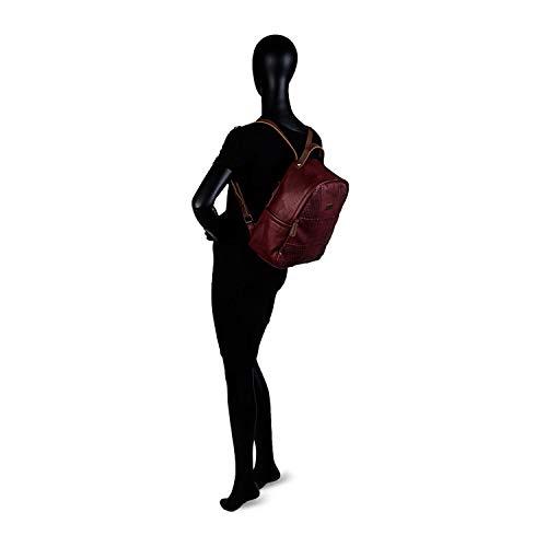 31fjn6s6kyL - Lois - Mochila de Mujer de Bonito Diseño. Cuero PU Perforado. para Diario Paseo Viaje Compra. Resistente Fuerte Práctica Estilo Casual. Marca y Moda. 96299, Color Granate
