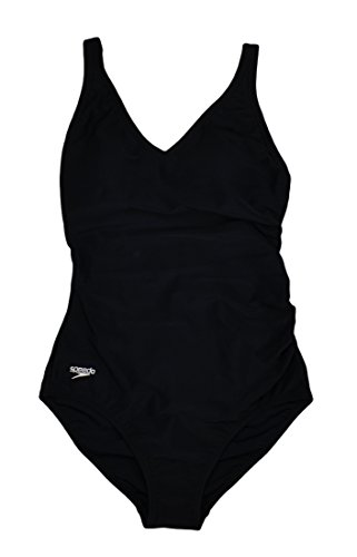 Speedo Ladies' Swimwear One Piece Swimsuit Black 6