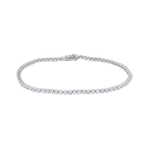 TJD 1.00 Carat (Ctw) Natural Diamond 10K White Gold Tennis Bracelet (H-I Color, I2-I3 Clarity) Jewelry Gifts for Women