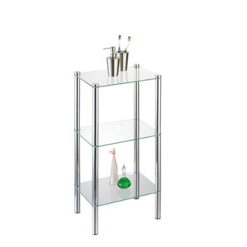 axentia Badezimmerregal Solanio in Silber, verchromtes Badregal, Standregal mit drei Glasböden , Maße: ca. 40 x 30 x 77 cm