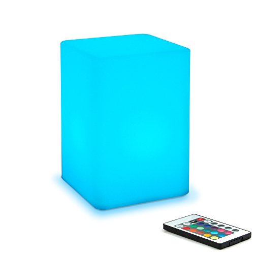 Mr.Go 6-inch Dimmable LED Night Light Mood Lamp for Kids and Adults - 16 RGB Colors - 5 Level Dimming - 4 Lighting Effects - Rechargeable - Remote Control - Decorative - Fun and Safe - White Cube