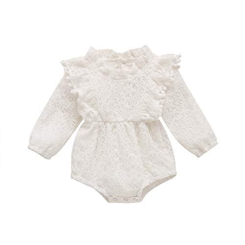 Carolilly Mono de bebé de manga larga de encaje para bebé de 0 a 24 meses Color blanco. 3-6 Meses