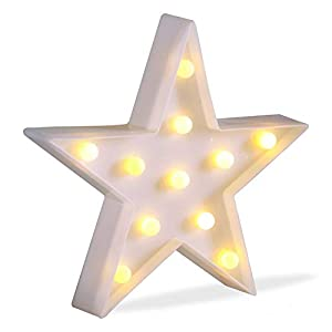 JUHUI Marquee Light Star Shaped LED Plastic Sign-Lighted Marquee Star Sign Wall Décor Battery Operated (White)