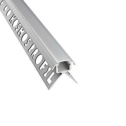 C-T77 LED Alu Fliesenprofil Ecke aussen 10mm silber + Abdeckung Abschlussleiste Fliesen für LED-Streifen-Strip 1m opal
