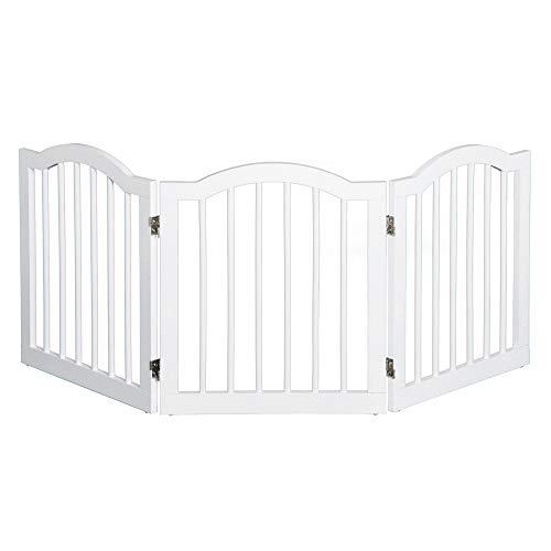 Pawhut Barrera de Seguridad Modulable para Mascotas de 3 Paneles Pantalla Barrera de Protección con Sistema Flex de Madera Maciza 154,5x1,8x61 cm Blanco