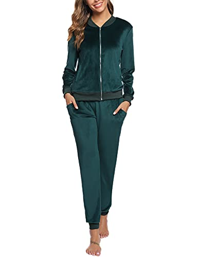 Akalnny Tuta Sportive da Donna Giacche a Maniche Lunghe in Velluto con Cerniera Pantaloni a Vita Alta Set Donna Casual Pigiama Verde